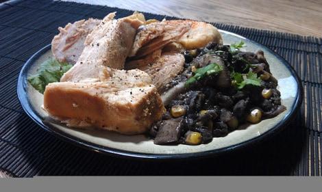 Low Amine Cajun Black Beans plated photo