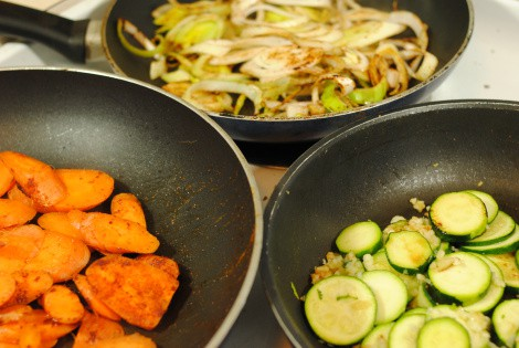 Carrots, Leek, and Zucchini cooking in separate pans for frittata (photo)