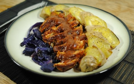 Low-Amine Baked BBQ Chicken (low-amine, gluten-free, soy-free, dairy-free, tomato-free, low-fat, low-carb) served with baked sweet potato and stir-fried cabbage (photo)